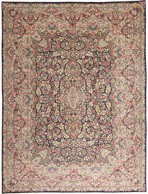 Kerman Tæppe 290X387 Ægte Orientalsk Håndknyttet Lysegrå/Mørkebrun Stort (Uld, Persien/Iran)