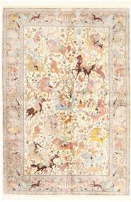 Ghom Silke Tæppe 140X211 Ægte Orientalsk Håndknyttet Beige/Lyserød (Silke, Persien/Iran)