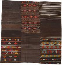 Kelim Patchwork Tæppe 208X212 Ægte Moderne Håndvævet Kvadratisk Mørkebrun (Uld, Tyrkiet)