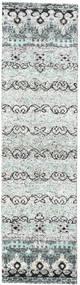 Quito - Grå Tæppe 80X300 Ægte Moderne Håndknyttet Tæppeløber Beige/Lysegrå (Silke, Indien)