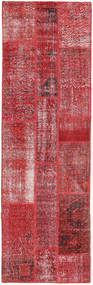 Patchwork Tæppe 80X257 Ægte Moderne Håndknyttet Tæppeløber Mørkerød/Rød (Uld, Tyrkiet)