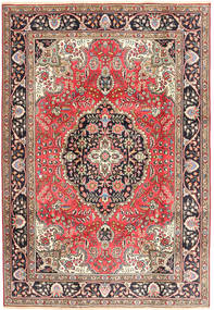 Tabriz Tæppe 200X287 Ægte Orientalsk Håndknyttet Mørkerød/Brun (Uld, Persien/Iran)