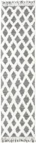 Inez - Mørkebrun/Hvid Tæppe 80X300 Ægte Moderne Håndvævet Tæppeløber Lysegrå/Hvid/Creme (Uld, Indien)