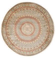 Kashmir Pure Silke Tæppe Ø 248 Ægte Orientalsk Håndknyttet Rundt Beige/Lysegrå (Silke, Indien)