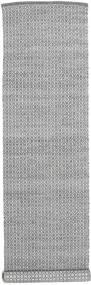 Alva - Mørkegrå/Hvid Tæppe 80X350 Ægte Moderne Håndvævet Tæppeløber Lysegrå/Mørkegrå (Uld, Indien)
