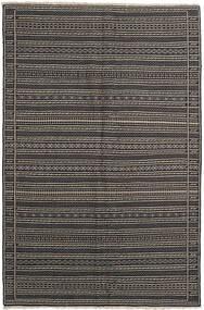 Kelim Tæppe 155X236 Ægte Orientalsk Håndvævet Mørkegrå/Sort/Lysegrå (Uld, Persien/Iran)