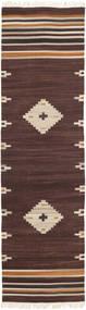Tribal - Brun Tæppe 80X300 Ægte Moderne Håndvævet Tæppeløber Mørkebrun/Beige (Uld, Indien)
