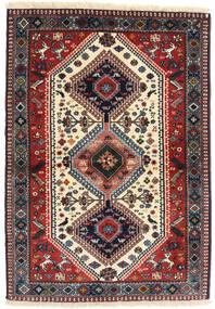 Yalameh Tæppe 98X141 Ægte Orientalsk Håndknyttet Mørkerød/Mørkeblå (Uld, Persien/Iran)