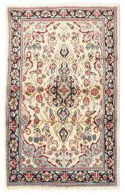 Kerman Tæppe 88X140 Ægte Orientalsk Håndknyttet Lysebrun/Beige (Uld, Persien/Iran)