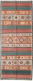 Kelim Fars Tæppe 155X380 Ægte Orientalsk Håndvævet Tæppeløber Mørkerød/Sort (Uld, Persien/Iran)