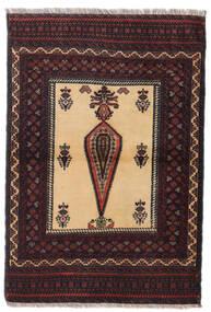 Beluch Tæppe 88X126 Ægte Orientalsk Håndknyttet Mørkerød/Mørkebrun (Uld, Persien/Iran)