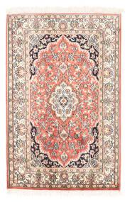 Kashmir Pure Silke Tæppe 63X97 Ægte Orientalsk Håndknyttet Beige/Mørk Beige (Silke, Indien)