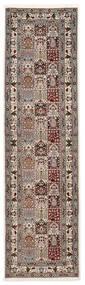 Moud Sherkat Farsh Tæppe 80X300 Ægte Orientalsk Håndknyttet Tæppeløber Lysegrå/Beige (Uld/Silke, Persien/Iran)