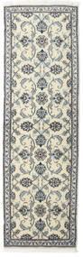 Nain Tæppe 80X250 Ægte Orientalsk Håndknyttet Tæppeløber Mørkegrå/Beige (Uld, Persien/Iran)