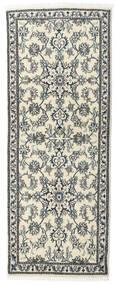 Nain Tæppe 80X197 Ægte Orientalsk Håndknyttet Tæppeløber Beige/Lysegrå (Uld, Persien/Iran)