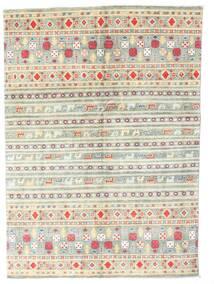 Kazak Tæppe 142X199 Ægte Orientalsk Håndknyttet Beige/Lysegrå (Uld, Pakistan)