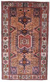 Hamadan Tæppe 130X222 Ægte Orientalsk Håndknyttet Mørkebrun/Mørkerød (Uld, Persien/Iran)