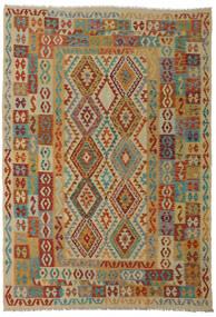 Kelim Afghan Old Style Tæppe 206X295 Ægte Orientalsk Håndvævet Mørkerød/Lysebrun (Uld, Afghanistan)