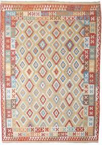 Kelim Afghan Old Style Tæppe 206X294 Ægte Orientalsk Håndvævet Lysegrå/Mørkerød (Uld, Afghanistan)