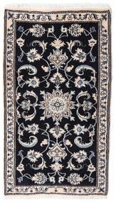Nain Tæppe 75X132 Ægte Orientalsk Håndknyttet Sort/Lysegrå (Uld, Persien/Iran)