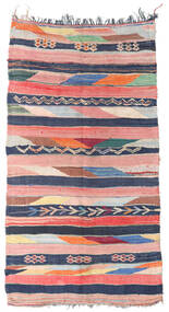 Berber Moroccan - Boucherouite Tæppe 158X309 Ægte Moderne Håndknyttet Tæppeløber Lyserød/Mørkeblå ( Marokko)