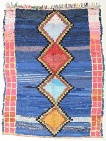Berber Moroccan - Boucherouite Tæppe 172X220 Ægte Moderne Håndknyttet Blå/Mørkeblå ( Marokko)