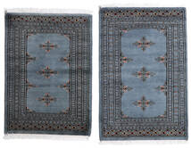 Pakistan Bokhara 2Ply Tæppe 62X95 Ægte Orientalsk Håndknyttet Mørkegrå/Blå (Uld, Pakistan)