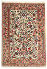 Ghom Kork/Silke Tæppe 108X157 Ægte Orientalsk Håndknyttet Beige/Mørkebrun (Uld/Silke, Persien/Iran)