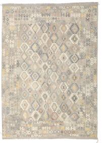 Kelim Afghan Old Style Tæppe 246X349 Ægte Orientalsk Håndvævet Lysegrå/Mørk Beige (Uld, Afghanistan)