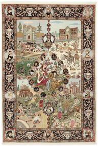Tabriz 50 Raj Tæppe 150X219 Ægte Orientalsk Håndknyttet Brun/Lysebrun (Uld/Silke, Persien/Iran)