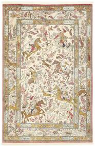 Ghom Silke Tæppe 132X203 Ægte Orientalsk Håndknyttet Mørk Beige/Gul (Silke, Persien/Iran)