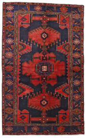 Hamadan Tæppe 132X211 Ægte Orientalsk Håndknyttet Mørkelilla/Mørkerød (Uld, Persien/Iran)
