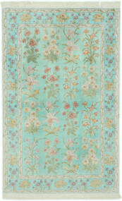 Ghom Silke Tæppe 102X160 Ægte Orientalsk Håndknyttet Pastel Grøn/Lysegrå (Silke, Persien/Iran)