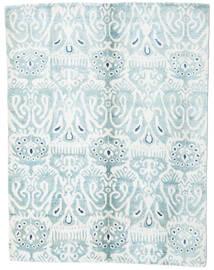 Sari Pure Silke Tæppe 153X200 Ægte Moderne Håndknyttet Hvid/Creme/Lyseblå (Silke, Indien)