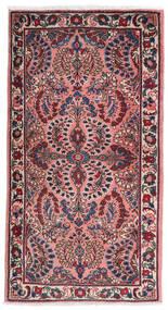 Sarough Tæppe 75X140 Ægte Orientalsk Håndknyttet Mørkelilla/Lyserød (Uld, Persien/Iran)
