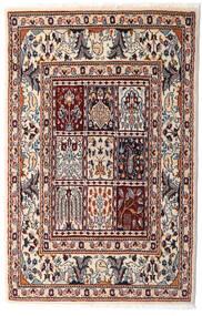 Moud Tæppe 76X117 Ægte Orientalsk Håndknyttet Beige/Mørkebrun (Uld/Silke, Persien/Iran)