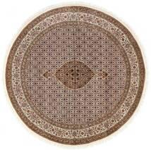 Tabriz Royal Tæppe Ø 197 Ægte Orientalsk Håndknyttet Rundt Brun/Lysegrå ( Indien)