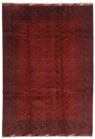 Afghan Tæppe 202X283 Ægte Orientalsk Håndknyttet Mørkerød/Mørkebrun (Uld, Afghanistan)