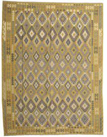 Kelim Afghan Old Style Tæppe 298X389 Ægte Orientalsk Håndvævet Olivengrøn/Mørkegrå Stort (Uld, Afghanistan)