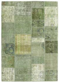 Patchwork - Persien/Iran Tæppe 141X200 Ægte Moderne Håndknyttet Olivengrøn/Lysgrøn (Uld, Persien/Iran)