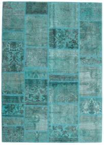 Patchwork - Persien/Iran Tæppe 141X198 Ægte Moderne Håndknyttet Turkis Blå/Turkis Blå (Uld, Persien/Iran)