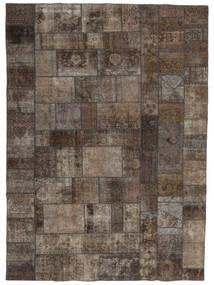 Patchwork - Persien/Iran Tæppe 252X352 Ægte Moderne Håndknyttet Lysegrå/Mørkegrå/Mørkebrun Stort (Uld, Persien/Iran)