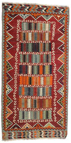 Kelim Vintage Tæppe 126X255 Ægte Orientalsk Håndvævet Mørkerød/Mørkebrun (Uld, Persien/Iran)