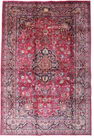 Mashad Tæppe 198X290 Ægte Orientalsk Håndknyttet Mørkelilla/Lyserød (Uld, Persien/Iran)