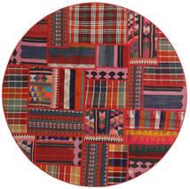 Tekkeh Kelim Tæppe Ø 150 Ægte Moderne Håndvævet Rundt Mørkerød/Rust (Uld, Persien/Iran)