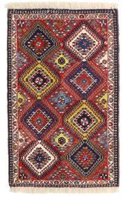 Yalameh Tæppe 64X102 Ægte Orientalsk Håndknyttet Mørkerød/Mørkelilla (Uld, Persien/Iran)