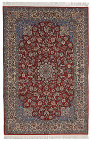Isfahan Sherkat Farsh Tæppe 200X300 Ægte Orientalsk Håndknyttet Mørkerød/Mørkebrun (Uld/Silke, Persien/Iran)