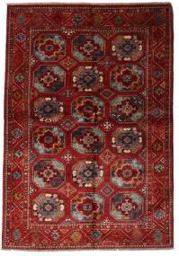 Moderne Afghan Tæppe 137X201 Ægte Moderne Håndknyttet Mørkerød (Uld, Afghanistan)