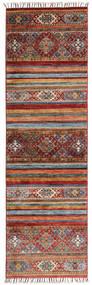Shabargan Tæppe 60X196 Ægte Moderne Håndknyttet Tæppeløber Mørkebrun/Mørkerød (Uld, Afghanistan)