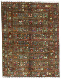 Shabargan .L Tæppe 156X201 Ægte Moderne Håndknyttet Mørkebrun/Brun (Uld, Afghanistan)